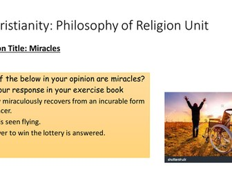 Edexcel Beliefs in Action B (9-1) Christianity Phil of Religion - Miracles Lesson