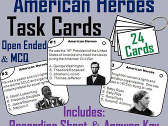 American Heroes Task Cards