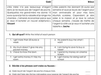 GCSE / KS3 French Pocket Money: l'argent de poche, family & home. Reading, vocabulary & translation
