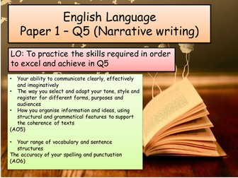 English Language - Q5- Paper 1 (narrative/ descriptive writing)