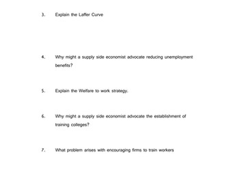 questions/worksheet/ template for supply side test/notes/research