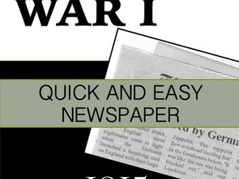 World War I Quick and Easy Newspaper Activity for 1915