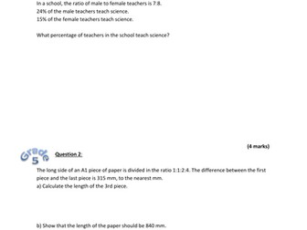 GCSE 9-1 Maths exam style questions on problem-solving with ratio and percentages