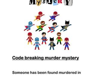 Code breaking superhero murder mystery