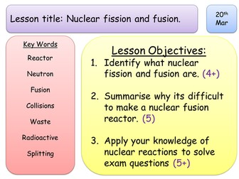 New GSCE Physics Spec - Radioactivity - Fission & Fusion - Group Work.