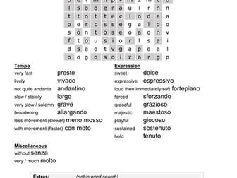 Italian musical terms worksheet (grade 2 theory)