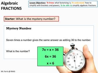 Algebra: Algebraic Fractions and Factoring (US Version) + worksheet