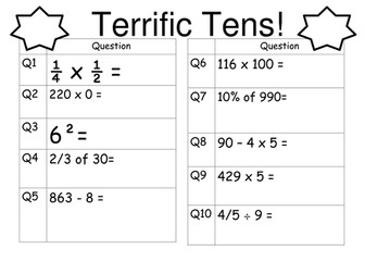Year 6 SATs revision - daily arithmetic starters