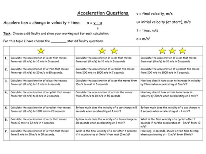 Calculating Speed Time Distance And Acceleration Worksheet Answers ...