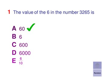 Multiple Choice Starters - Place Value and Basic Number