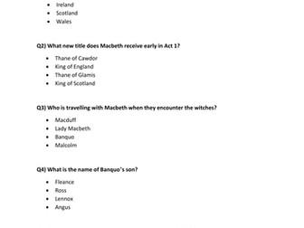 Macbeth Knowlege Quiz