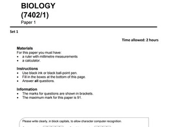 A level Biology (AS) AQA practice / past paper 1 | exam questions, revision