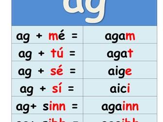 Gaeilge: Réamhfhocal 'ag', 'ar', 'as', 'de', 'do', 'faoi', 'le', 'ó',