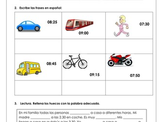 Spanish KS3 Travelling to school / Transport / Time _ reading comprehension