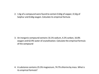 EMPIRICAL FORMULA WORKSHEET WITH ANSWERS by kunletosin246 - Teaching ...