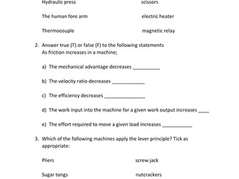 Simple Machines Worksheet With Answer By Kunletosin246 Teaching