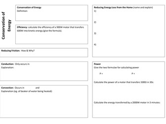 Conservation of Energy Revision Mat & Questions