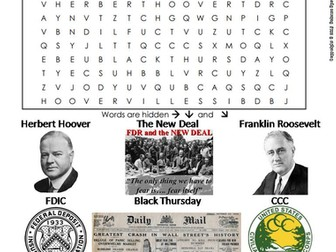 The Great Depression Worksheet/ Word Search