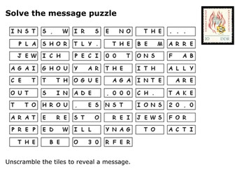 Solve the message puzzle Kristallnacht
