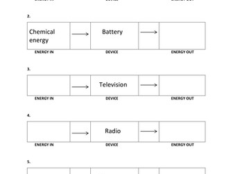 ENERGY TRANSFORMATION WORKSHEET WITH ANSWER