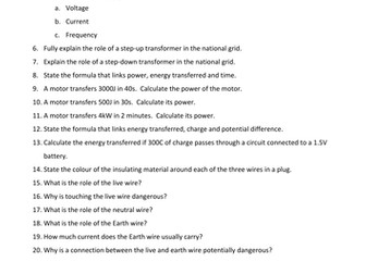 Electricity in the Home Revision Mat & Questions