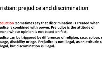 Christian Religion: Prejudice and Discrimination