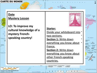 Lesson PowerPoint: Mystery French-Speaking Country Cultural Lesson + Worksheet (Mauritius)
