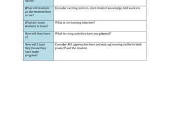 Learning Plan - Great for NQTs