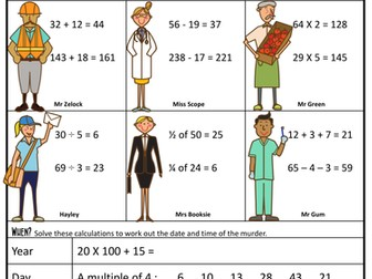 Maths Revision Murder Mystery KS2 (4 operations, fractions, time)