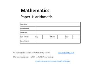 KS2 SATS Arithmetic Practice Paper x3 (T,U,V)