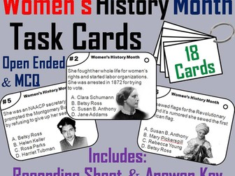 Women's History Month Task Cards