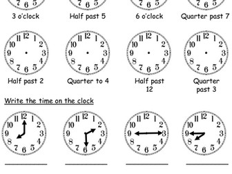 Year 2 working at and greater depth- telling the time