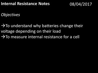 Internal resistance for A-level Physics