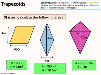 Geometry: Area 5 - Area of a Trapezoids (US version) + lots of  resources
