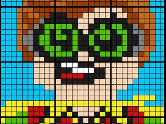 Colouring by Ratio Applications, Lego Robin (12 Sheet Collaborative Math Mosaic)
