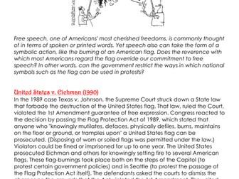 Is Flag Burning Free Speech? Worksheet- United States v. Eichman (1990)