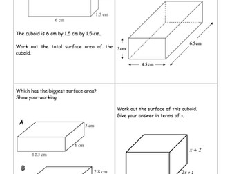 Volume and surface area revision carousel GCSE
