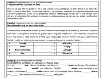 Spanish GCSE Writing Media & Technology: a model writing answer with exercises & translation