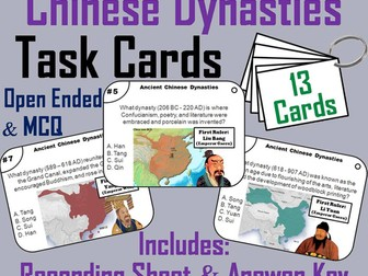 Ancient Chinese Dynasties Task Cards