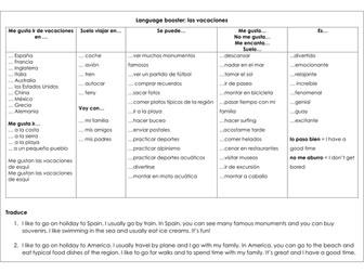 Spanish GCSE KS3 holidays language mat sentence builder las vacaciones opinions