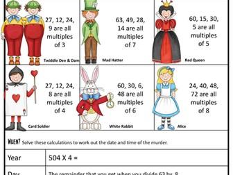 Maths Revision Murder Mystery KS2 (Wonderland)