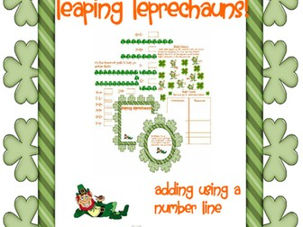 Addition with a Number Line - Leaping Leprechauns (St Patrick's Theme)