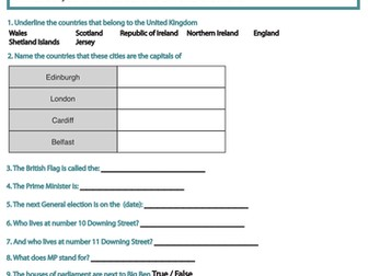General Election 2017 and Government Webquest