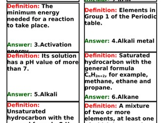 GCSE Chemistry AQA - Quiz quiz trade cards