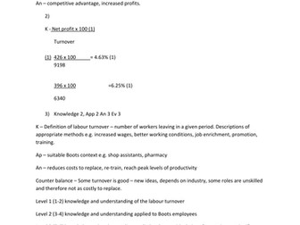 A level Edexcel Business New Spec Unit 3.5 topic test and answers