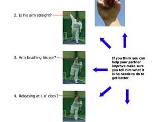 Cricket Bowling Teaching Card