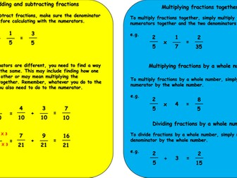 Fraction Calculation Revision Mat KS2
