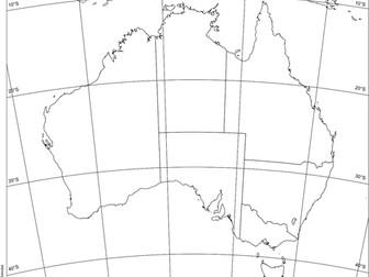 Map of Australia with latitude longitude grid