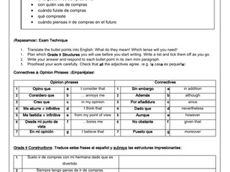 GCSE Spanish scaffolded writing practice A* constructions honing exam technique _ free time shopping