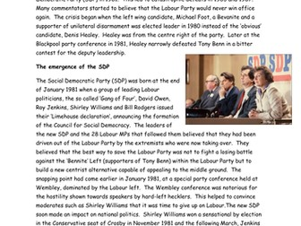 AQA A Level Britain 1950-2007: Divided opposition - Labour and SDP 1980s